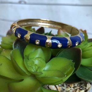 🆕Sequin Navy gold enamel bangle with crystals